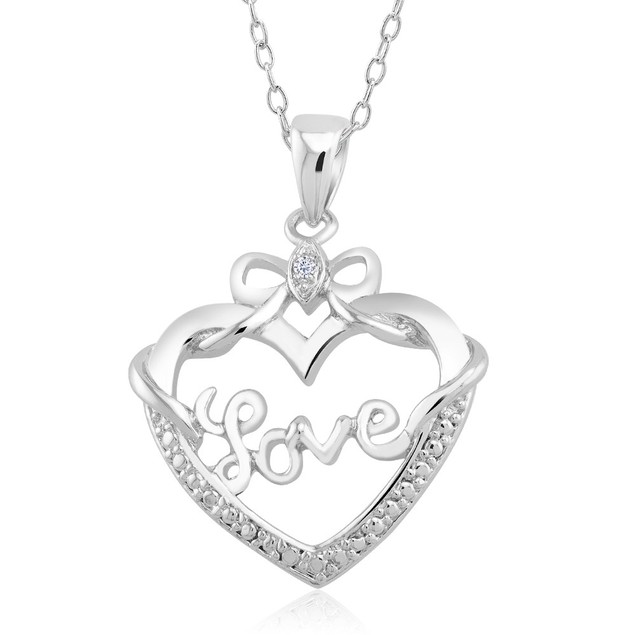 1/10 CTW Diamond Accent Necklace - Bow Heart