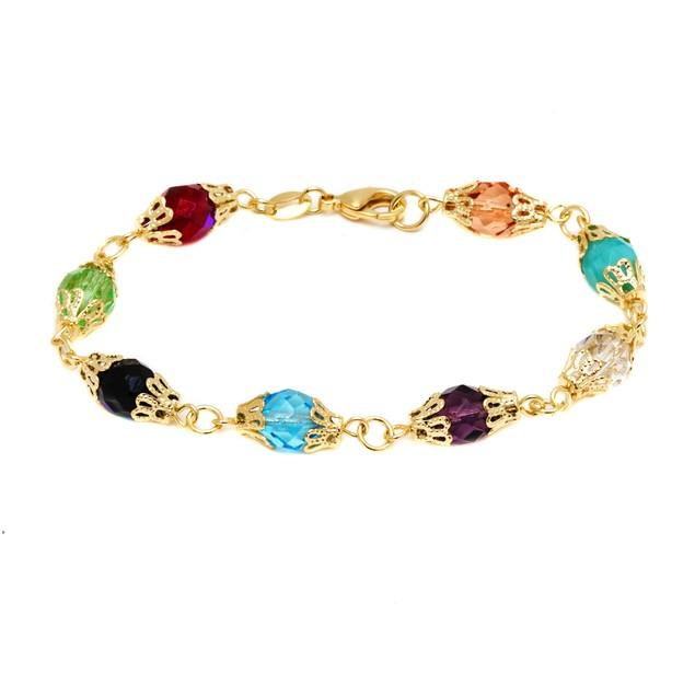 18K Gold & Multi Color Crystals Bracelet
