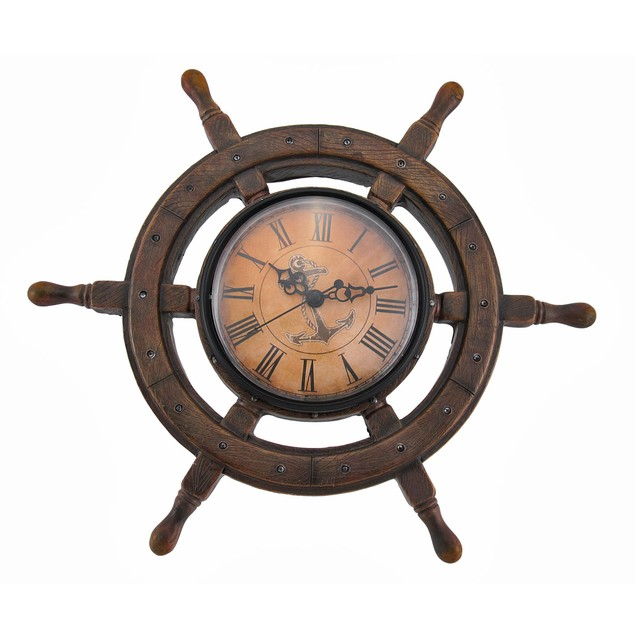 Master Of Destiny Ship`S Wheel Nautical Wall Clock Wall Clocks