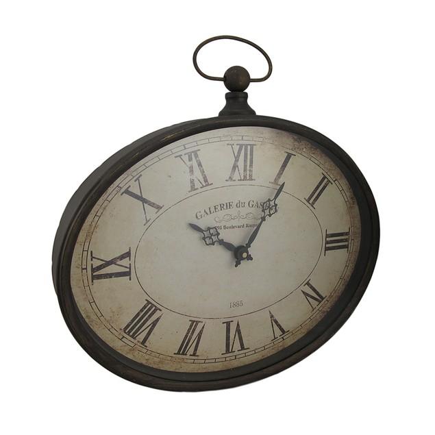Oval Pocket Watch Style Distressed Finish Wall Wall Clocks