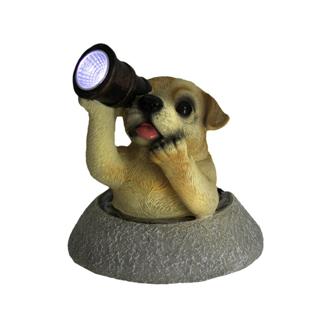Adorable Solar Eyes Spyglass Labrador Puppy Dog Outdoor Figurine Lights