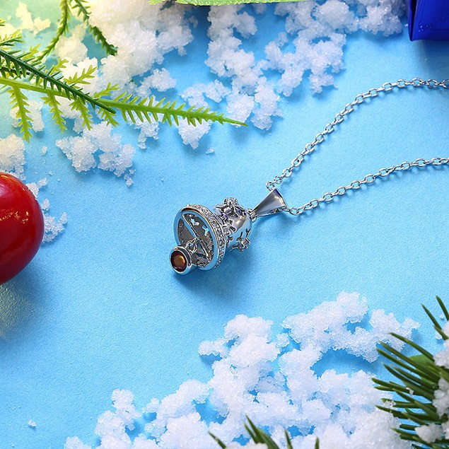 Ruby Gemstone Diamond Accented Jingle Bells Necklace