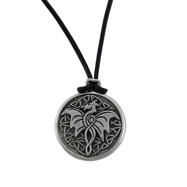 Celtic Wisdom Dragon Pewter Pendant 16 In. Cord Womens Pendant Necklaces