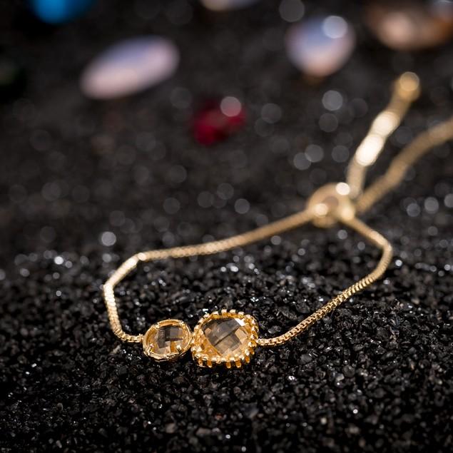 Gold Plated Duo Onyx & Citrine Gem Bracelet