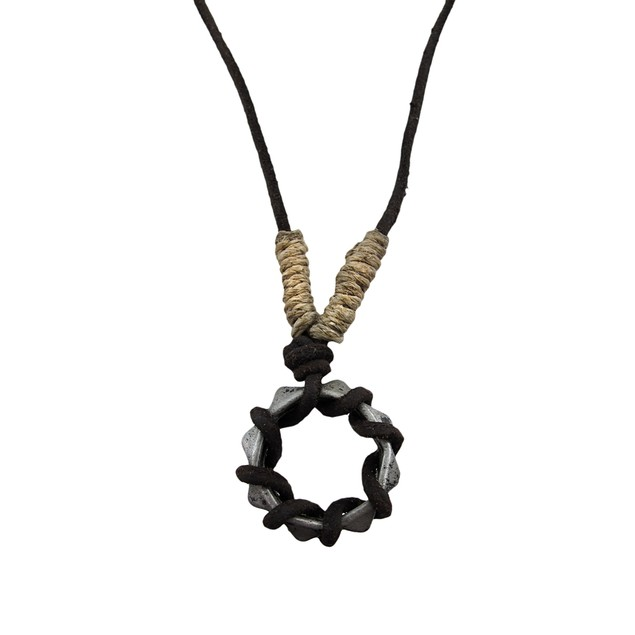 Pewter Pyramid Ring Pendant W/ Cord Necklace Mens Pendant Necklaces