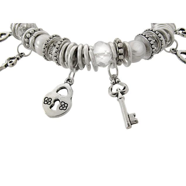 Silvertone Beaded Stretch Bracelet With Lock And Womens Stretch Bracelets