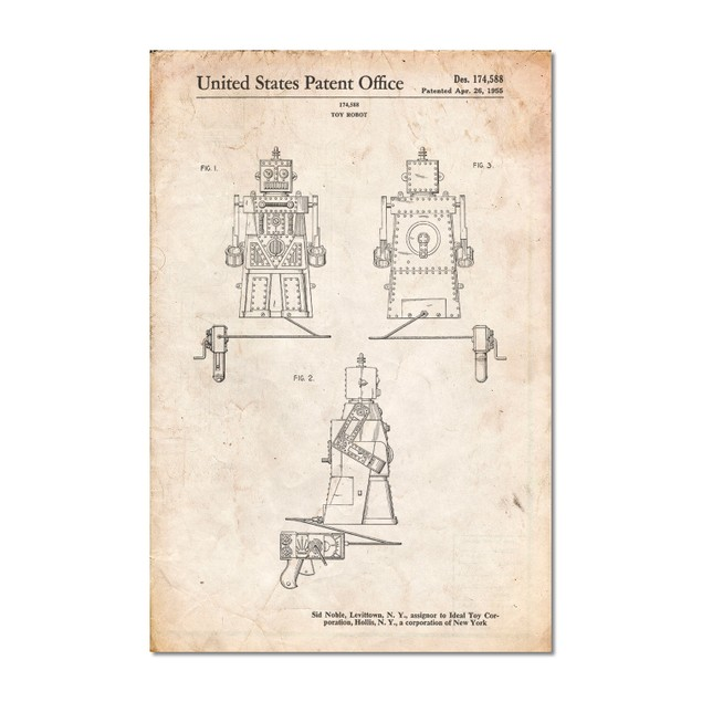Robot 1955 Toy Robot Patent Poster