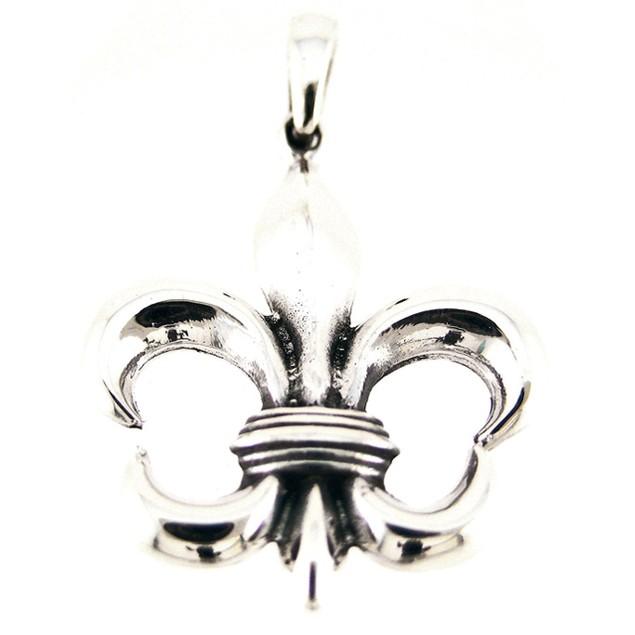 Sterling Silver Fleur De Lis Pendant Charm Royalty Womens Pendants