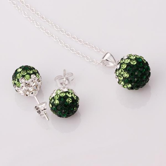 Austrian Stone Multi-Pave Earring Studs and Necklace Set - Green Crystal