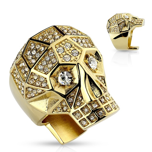 316L Stainless Steel Cubic Zirocnia Skull Ring - 3 Colors