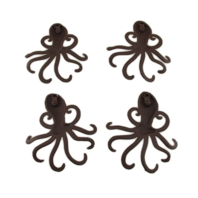 Rustic Brown Cast Iron Octopus Shaped Wall Hook Decorative Wall Hooks
