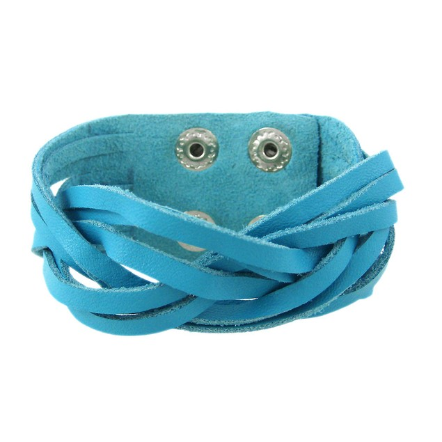 Turquoise Blue Leather Braided Wristband Mens Leather Bracelets