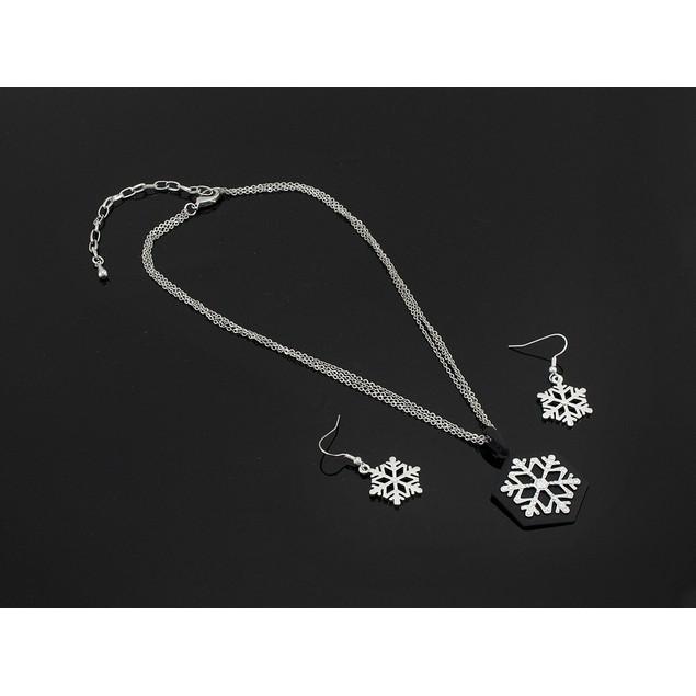 Stunning Rhinestone Snowflake Pendant & Earrings Womens Earring And