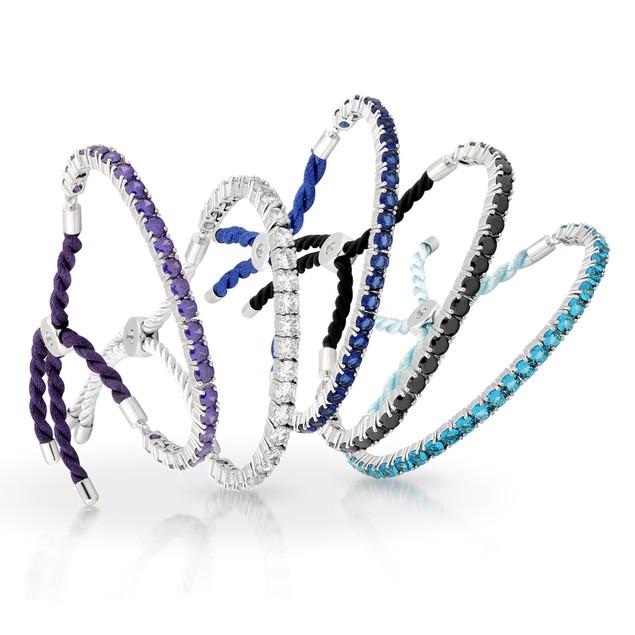 Colored Gemstone Silk Adjustable Tennis Bracelets - 5 Colors