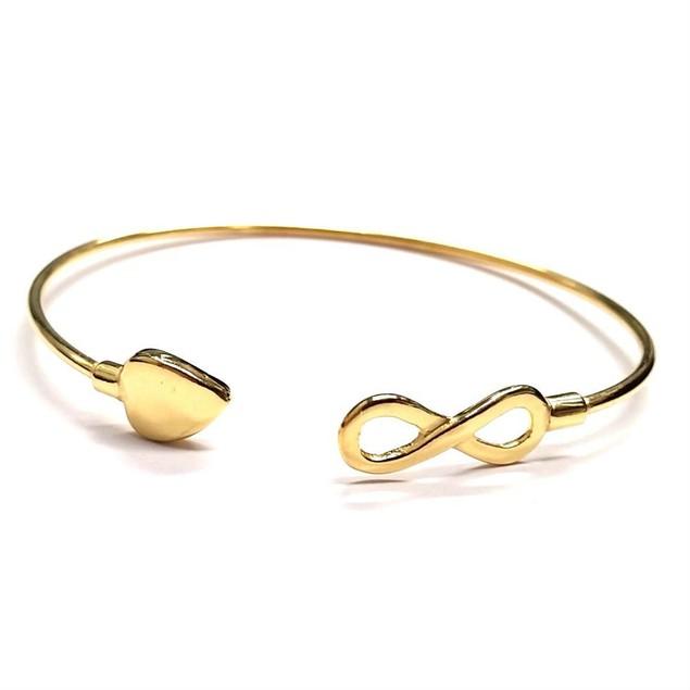 Sterling Silver Infinity Heart Cuff Bracelet - 3 Colors
