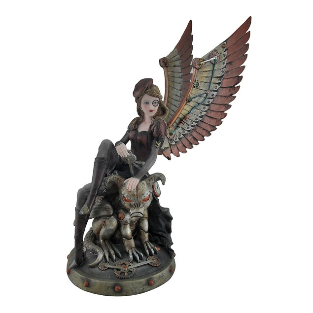 Steampunk Angel And Demon Dog Decorative Statue Statues