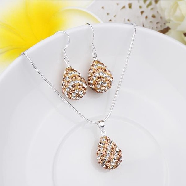 Austrian Stone Multi-Pave Pear Earring and Necklace Set - Cappuccino