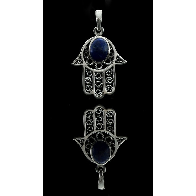 Sterling Silver Filigree Blue Stone Hamsa Pendant Pendants