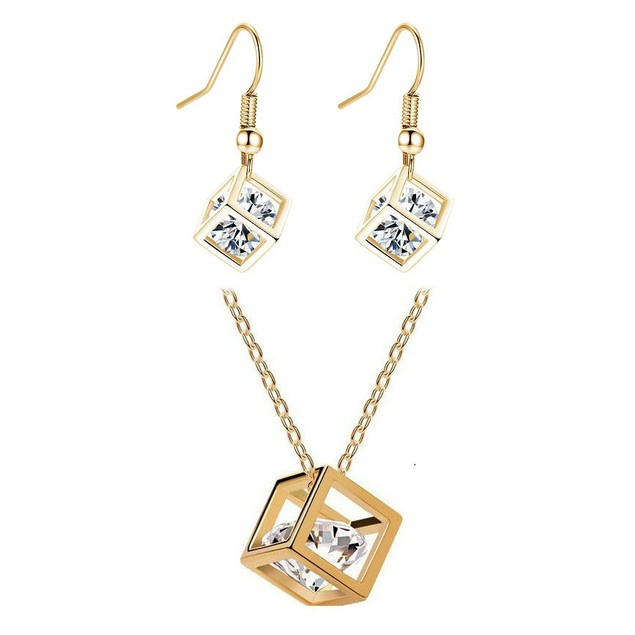 Gold Plated Crystal Cube Earrings and Necklace Set