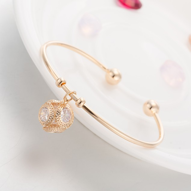 Gold Plated Dangling Crystal Open Ended Bangle