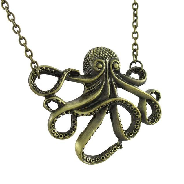 Antiqued Goldtone Octopus Pendant / Necklace Pendant Necklaces