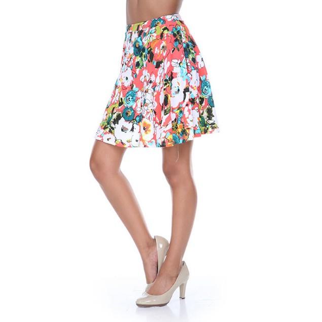 Orange & Green Flower Burst Fit and Flare Skater Skirt
