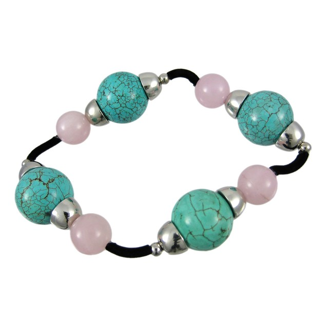 Round Turquoise & Rose Quartz Stretch Bracelet Womens Stretch Bracelets