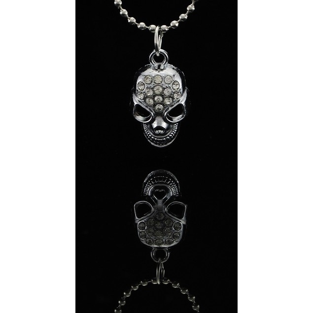 Silver Tone Rhinestone Encrusted Skull Pendant 18 Chain Necklaces