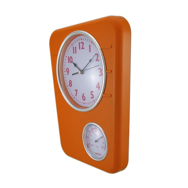 Bright Orange Wall Clock With Temperature Display Outdoor Clocks
