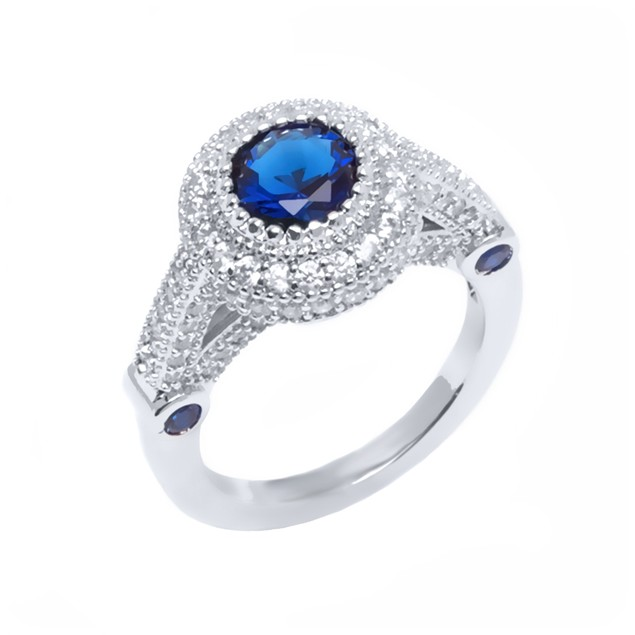 Gold Plated Sapphire Round Cut Ring