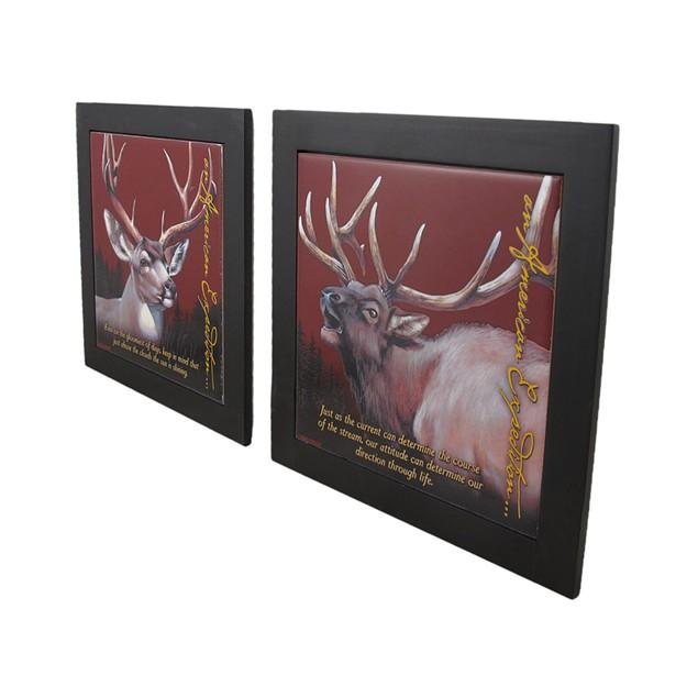 Set Of 2 Elk And Mule Deer Wildlife Wood Framed Trivets