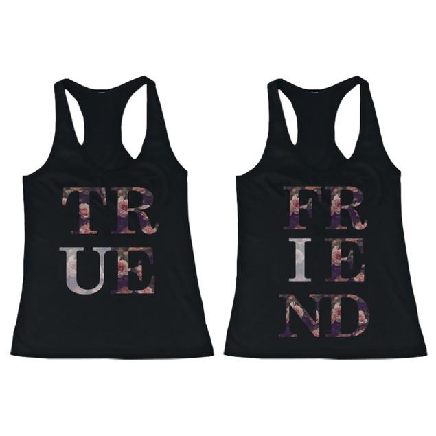 BFF Tank Tops True Friend Floral Print Matching Shirts for Best Friends