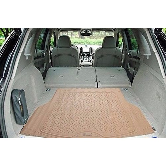 Zone Tech Trimmable Car Auto Rubber Beige Cargo Trunk Heavy Duty Floor Mat