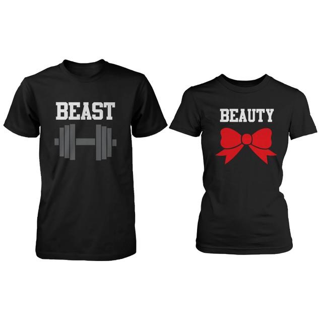 BLACK Beauty & Beast Couple T-shirt (Two Shirts)  Matching Couple T-Shirts
