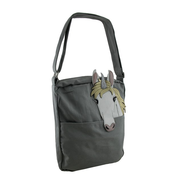 White Unicorn Pocket Peeker Grey Cotton Canvas Womens Cross Body Bags