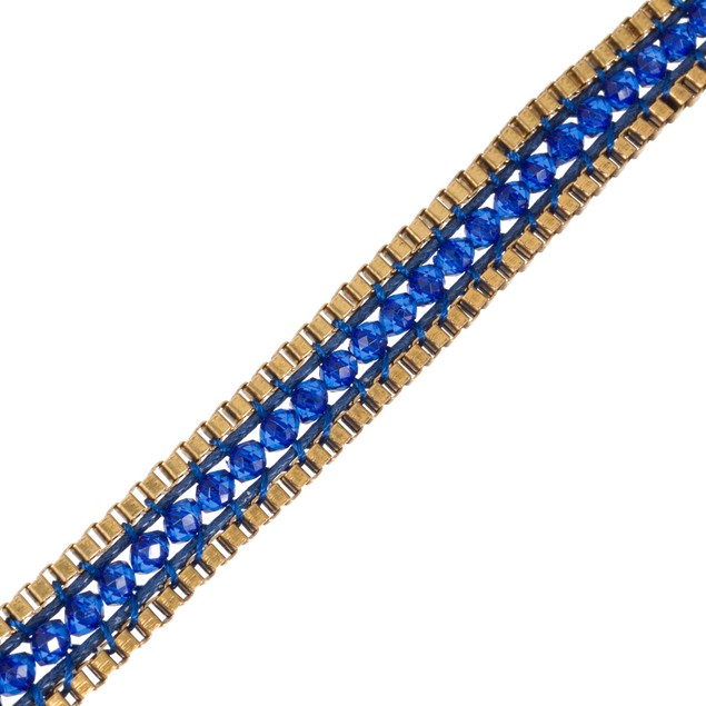 Blue Crystal & Gold Tone Box Chain Wrap Necklace