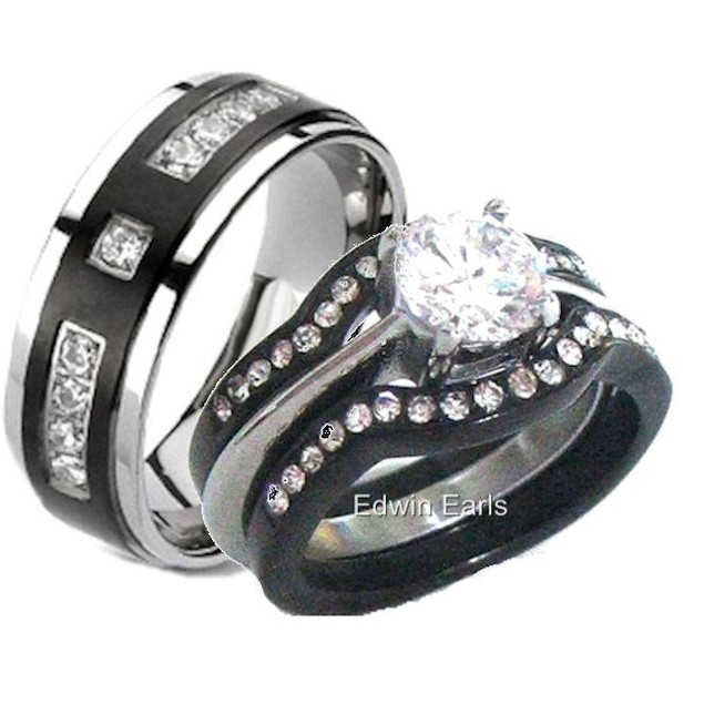 His Hers Black Stainless Steel & Titanium Wedding Band Ring Set