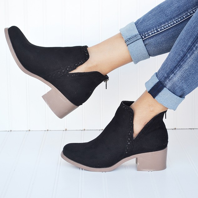 Mata Side Cut-Out Ankle Booties