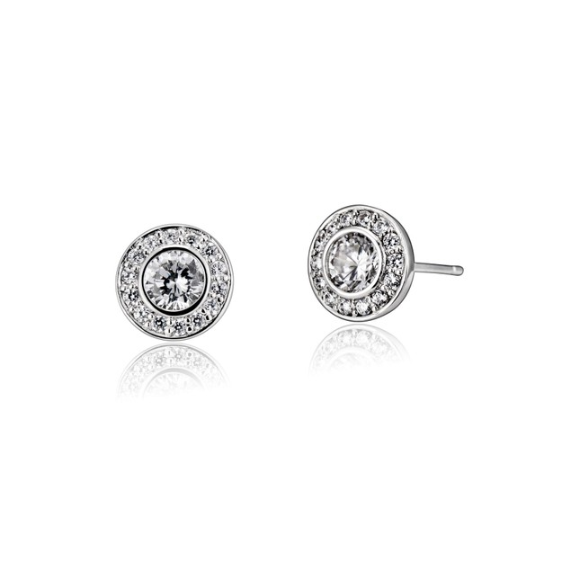 C.Z. Sterling Silver Rhodium Plated Round Earrings