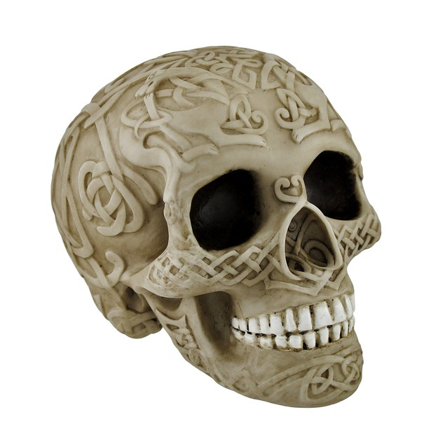 Bone Colored Skull With Celtic Knotwork Statue Statues