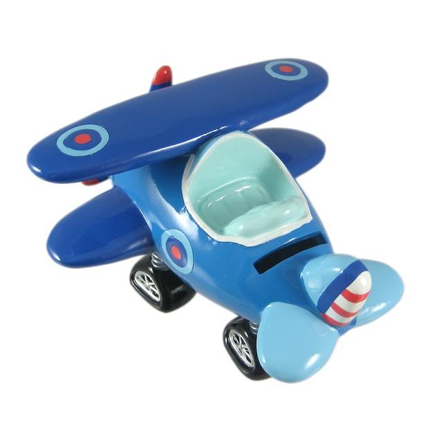 Blue Bi-Plane Bobble Piggy Bank Biplane Airplane Toy Banks