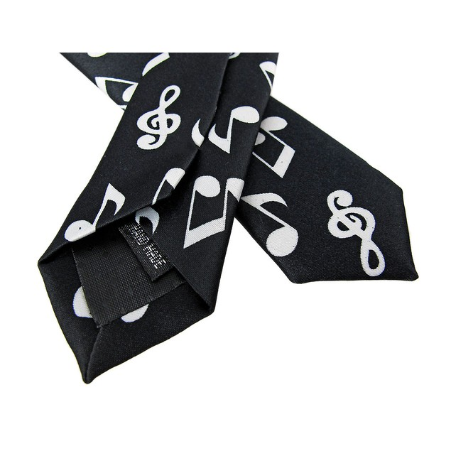 Black / White Musical Note Skinny Neck Tie Music Mens Neckties