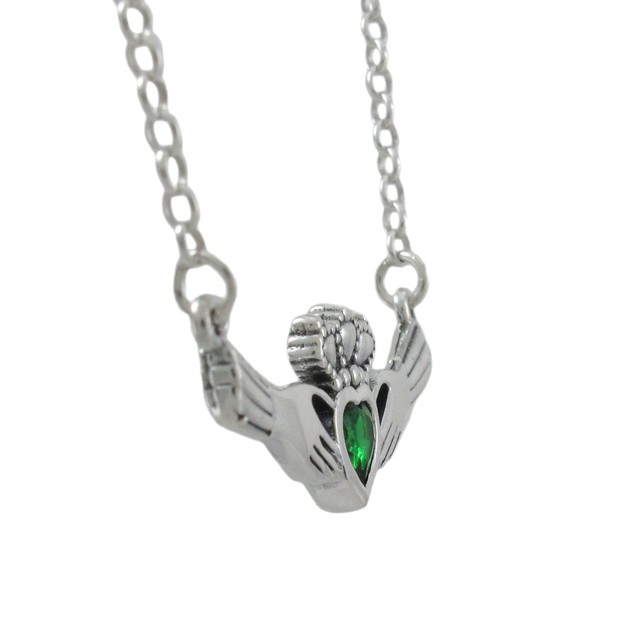 16 Inch Sterling Silver Claddagh Necklace Green Womens Pendant Necklaces