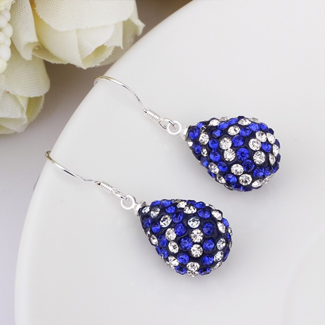 Two Toned Austrian Stone Pear Shaped Drop Earrings -Blue