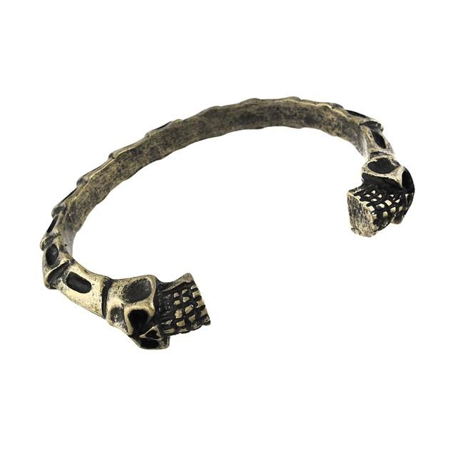 Burnished Goldtone Finish Skulls And Bones Torc Womens Cuff Bracelets