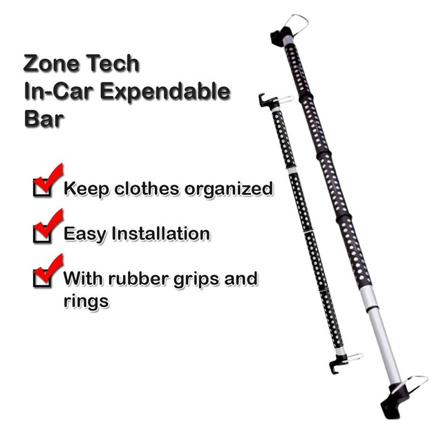 Zone Tech 2x In Car Expandable Clothes Bar Clothing Rods Hanger Hook
