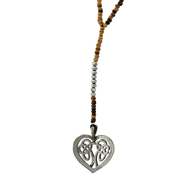 Celtic Heart Wood And Silver Bead Y Necklace Pendant Necklaces