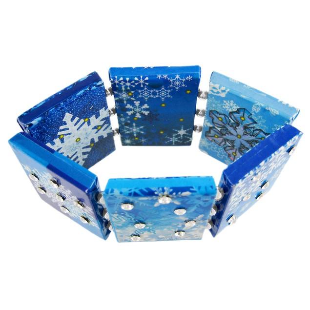 Paper Artwork Snowflake Rhinestone Stretch Womens Bangle Bracelets
