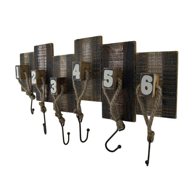 Numbered Wood And Metal Weathered Finish Wall Hook Decorative Wall Hooks