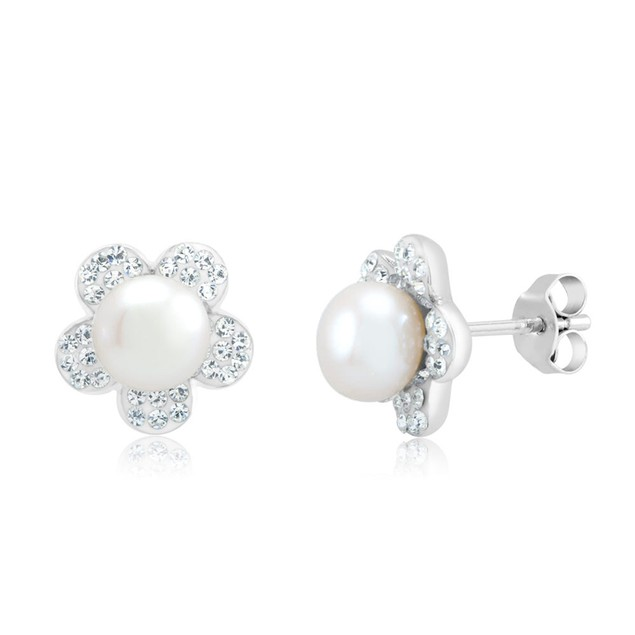 Gold Plated Crystal & Imitation Pearl Flower Earrings
